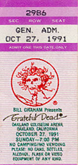 October 27, 1991 Oakland Ticket